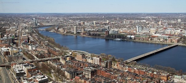 aerial picture of Boston skyline