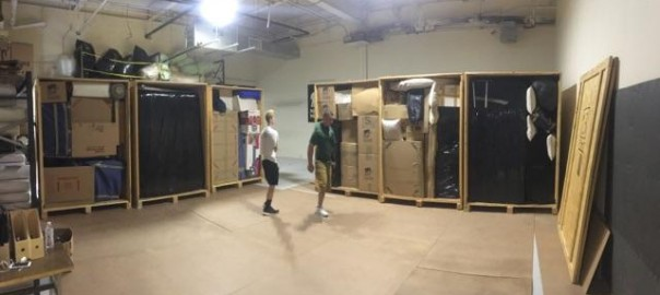 storage units being packed