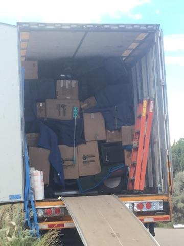 Packed moving truck