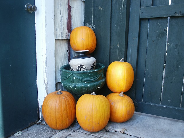 pumpkins placed on porch