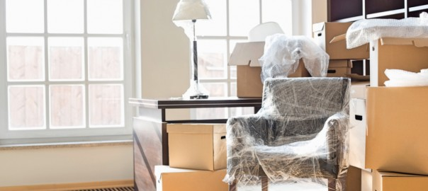 A photograph of home items packed and ready for moving.