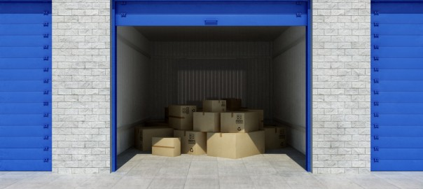 A photograph of an open storage unit.